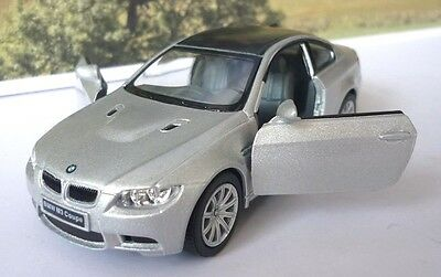 Silver BMW M3 Coupe Boys Toy Diecast Car Model Dad Birthday Gift Opening Doors