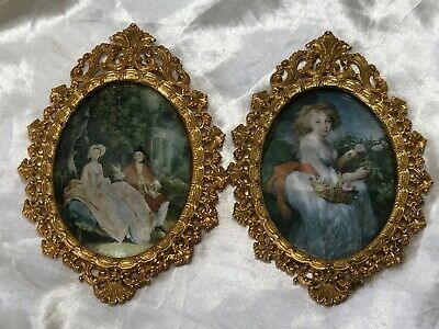 Vintage Style Italian Embroidered Silkwork Pair Romantic Scene Picture Plaques