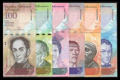 Venezuela 2,5,10,20,50,100 BOLIVARES (2007-12) LOT UNC OFFER !