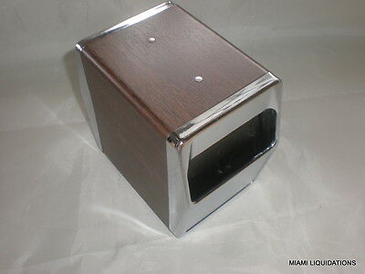 Traex 6509-12 Vertical table top napkin dispenser chrome face walnut 2 sided