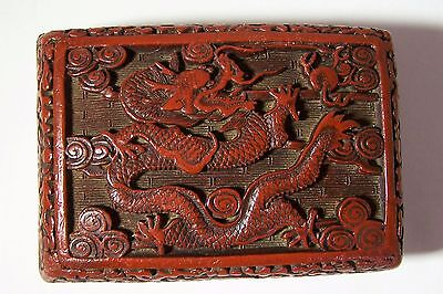Antique Chinese Carved Cinnabar Lacquer Dragon & Flaming Pearl Box Brass Trim