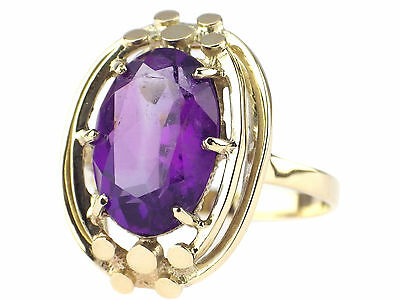 Art Deco Damen 14 K 585 Gelb Gold 5 ct Amethyst Ring handgefertigt