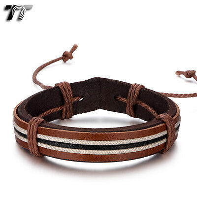 Quality TT Brown Leather Bracelet Wristband (LB320) NEW