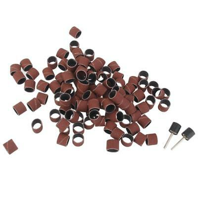 """100pcs 1/2"""" Sanding Drum Sleeves with 2 Rubber Mandrel Bands Set Rotary Tool"""