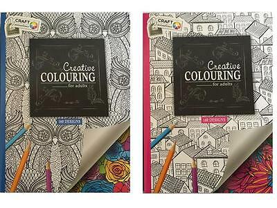 2X Creative Adults Colouring Book 160 Designs Art Stress Therapy Relaxing New