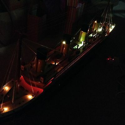 Titanic wooden model cruise ship with flashing light 60""