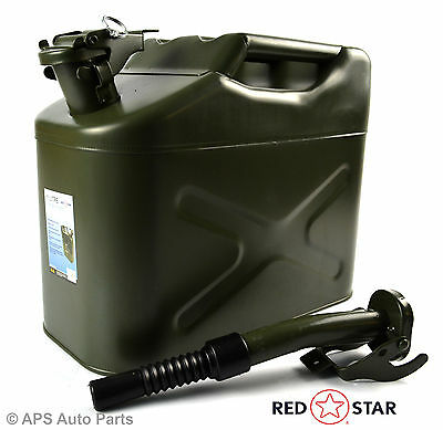 10L Metal Steel Jerry Gerry Can Fuel Diesel Petrol Water Oil Container + Spout
