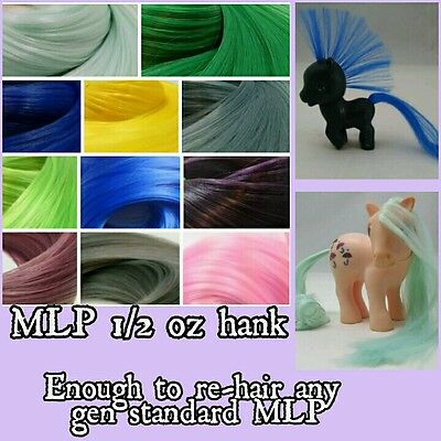 1/2 oz Bright Color Nylon Doll Hair Hank for Rehairing Rerooting My Little Pony