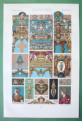 STAINED GLASS Ornaments European Cathedrals - COLOR Litho Print by Racinet