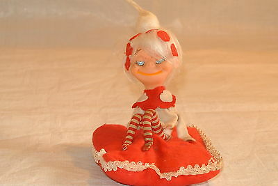 Valentine Vintage Pixie Doll on a Red Cushion