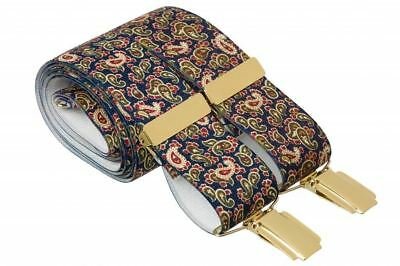 Mens Elastic Paisley Design Trouser Braces With Gold Coloured Clips