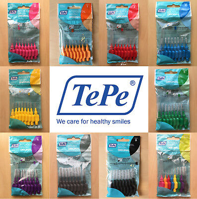 TePe Interdental Brushes, Various Size & Colours, Pack of 8
