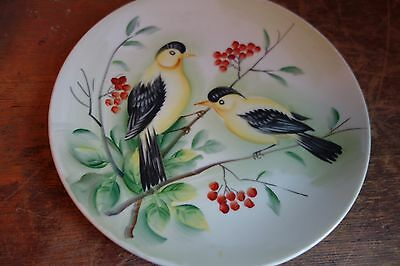 Vintage Lefton Plate - Goldfinch SL5882-VG-Hand Painted-BRIGHT YELLOW BIRDS-SALE