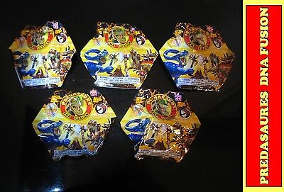 Lot of 6 toy Predasaurs DNA fusion dinosaur dino Mystery foil packs figures