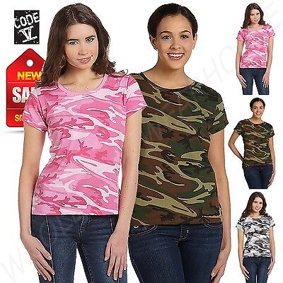 4fd84d29cbed1 CODE V LADIES Camouflage T-Shirt S-2XL Womens Cotton Camo Tee ...