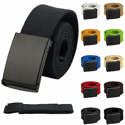 New Mens Womens Unisex Cotton Canvas Fabric Webbing Black Buckle Belt Army
