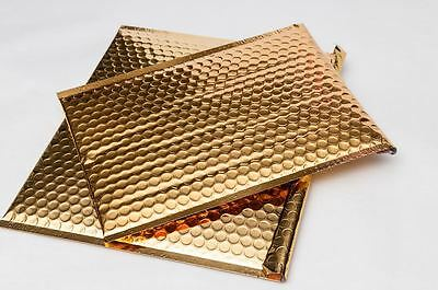 7 x 6.75 Metallic Glamour Bubble Mailers Shipping Envelopes Bags Gold 250 Pcs