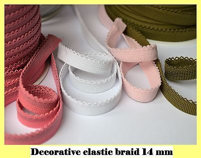Decorative elastic lace braid trim picot edge 14 mm wide sewing crafts 1m to 25m
