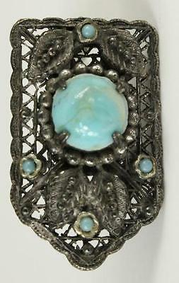 VINTAGE Costume Jewelry Aqua Blue Glass Inset Silver Tone Metal FURCLIP 1.5""
