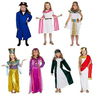 Girls Fancy Dress Up Child Costume Egyptian Roman Greek Victorian Tudor Age 4-12