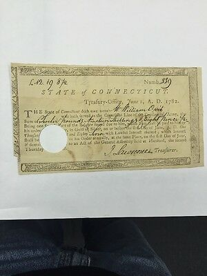 1782 State Of Connecticut Treasury Note Circulated.