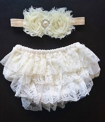 Newborn Baby Girls Headband Ruffles Panties Set Bloomers Nappy Cover Photo Props