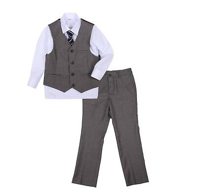 Page Boy Christening Formal Wedding Tuxedo 4pc Grey Suit From 3 Ms - 8 Yrs