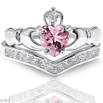 Pink Sapphire Claddagh Heart Simulated Diamond Celtic Sterling Silver Ring Set