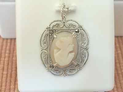Beautiful Vintage Antique Sterling Silver Cameo Pendant Scroll Design Beaded