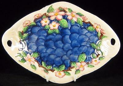 Maling Blue Thumbprint Lustre Bowl with Embossed Pink Flowers 1920s-63