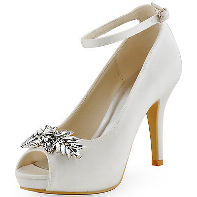 HP1544I Stiletto Heel Platforms Peep Toe Leaves Clip Buckle Satin Bridal Shoes