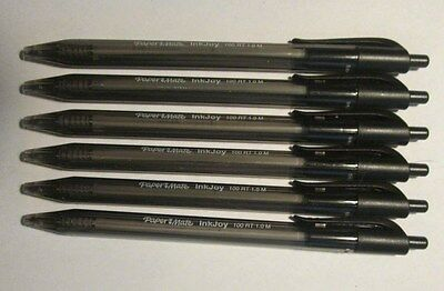6 Black Ink Pens - Papermate InkJoy 100RT Retractable Ballpoint, Med. 1.0mm