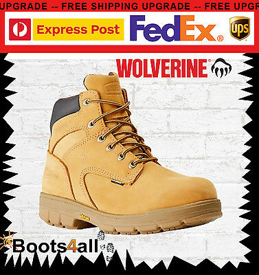 Wolverine Work Boots Turner Lace Up Waterproof Wheat Steel Toe Safety