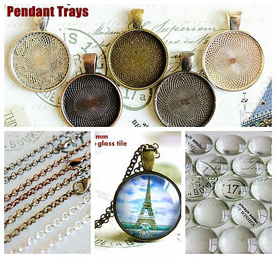 1 inch Round Pendant trays DIY Kit with glass cabochons rolo Chains /10 kits