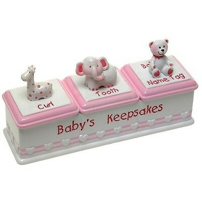 Baby Girl Triple Keepsake Box ~ Name Tag, Curl & Tooth ~ Perfect Gift Idea!!!
