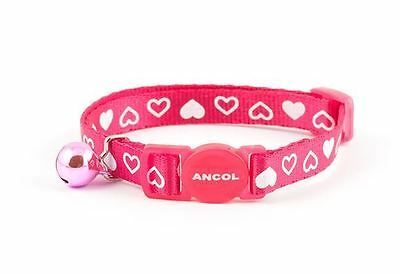 Ancol Silky Nylon Heart Cat Collar Raspberry with Safety Buckle