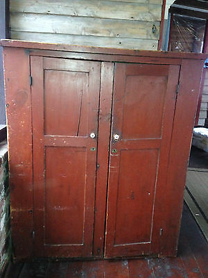 Primitive Wood Antique Rustic Colonial Red Wardrobe Armoire Cabinet