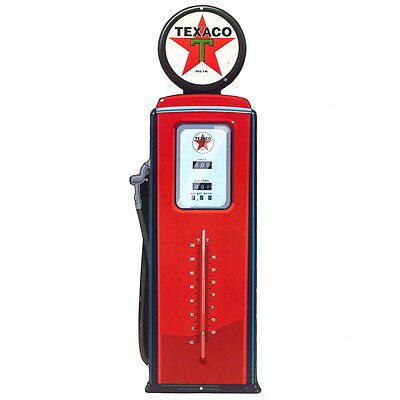 Texaco Gas Pump Embossed Tin Thermometer Sign Vintage Style Garage 7 x 20