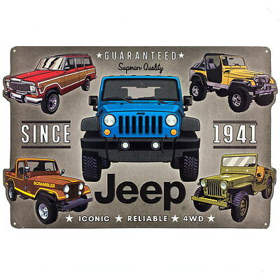 Jeep Since 1941 Collage Embossed Garage Tin Sign Vintage Style Garage 18 x 12