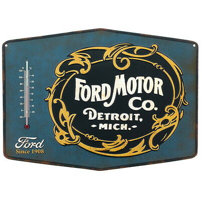 Ford Motor Co Embossed Tin Thermometer Sign Vintage Style Garage Decor 14 x 10