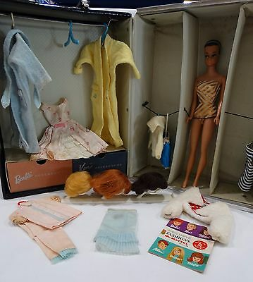 1963 BARBIE & KEN ponytail case WARDROBE TRUNK WITH ACCESSORIES AND DOLL