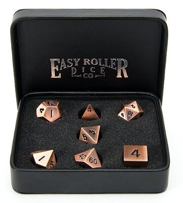 Legendary Copper Metal Polyhedral Dice Set - Free Display Case Included
