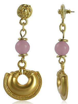 24k GP Pre-Columbian Convex Nose Ring with Pink Quartz Earrings