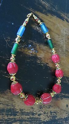 Ancient Red Green Blue  Beads Variety Sizes  Indonesia Necklace
