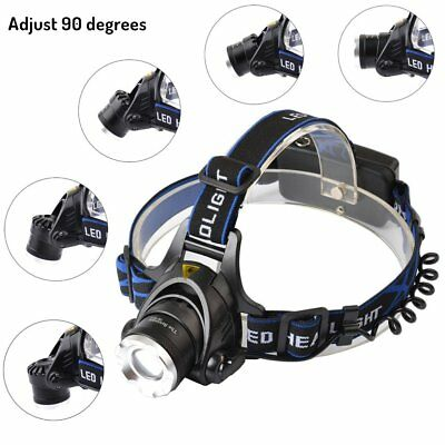 Waterproof Zoomable Fishing T6 LED 18650 HeadLamp Rechargeable Bike Lamp AU