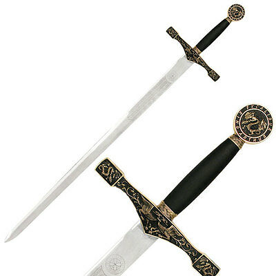 """NEW! 45"""" Black & Antique Gold Brass Medieval Long Sword Excalibur Collectable"""