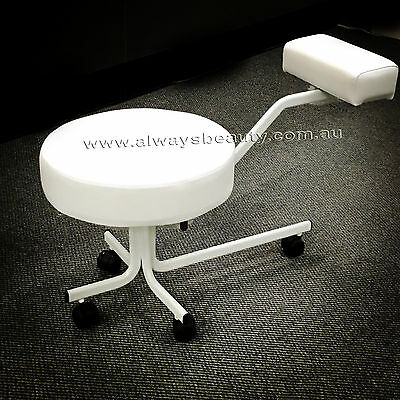 Pedicure Stool With Wheels Wide Seat Pedicure Nail Spa Stool Black or White