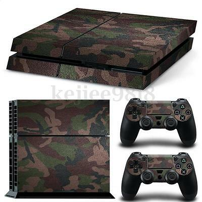 Camouflage Vinyl Decal Skin Sticker For PS4 Playstation 4 Console & Controllers