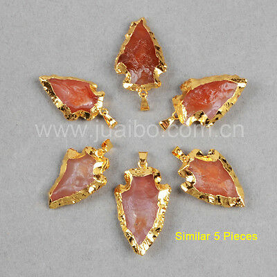 5Pcs Gold Plated Hand Knapped Arrowhead Rough Red Chalcedony Pendant Bead GG0789