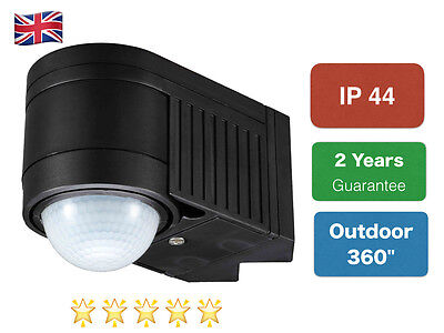 PIR Infrared Motion Sensor Black Outdoor 360 Degree NEW IP44 Certified
